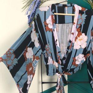 Free People floral Kimono crop top